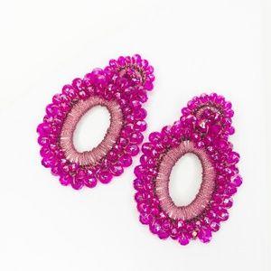 CLOSET REHAB Jewelry - Boho Beaded Drop Earrings in Hot Pink